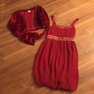 Red dress and jacket